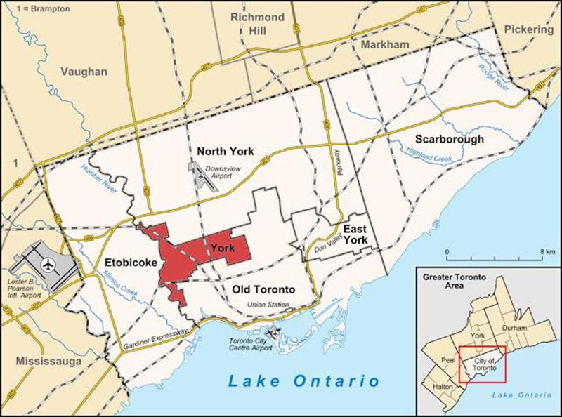 Mapa com as regiões de Toronto