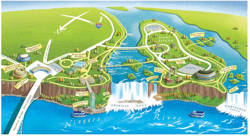 Mapa de regiões de Niagara Falls no Canadá