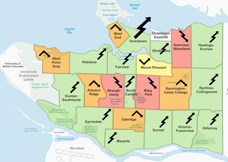 Mapa de regiões em Vancouver