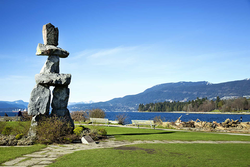Vista da praia English Bay em Vancouver