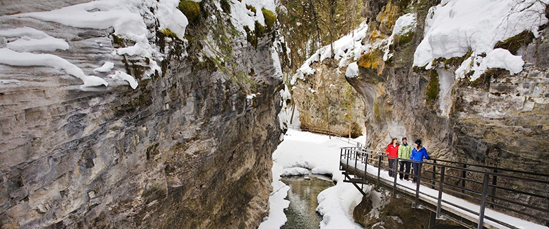 Pontes da Johnston Canyon Icewalk em Banff