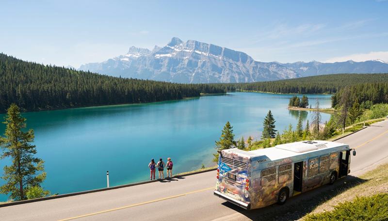 Passeio de ônibus no Parque Nacional em Banff