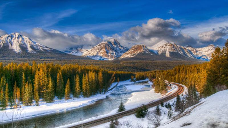 Vista do passeio romântico de trenó em Banff