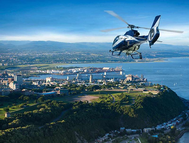 Cenários da excursão de helicóptero em Quebec