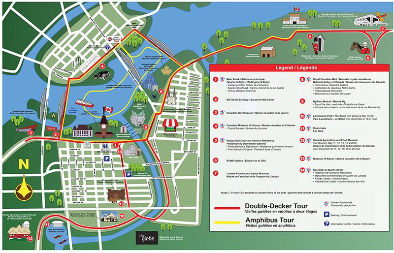 Mapa do ônibus turístico em Ottawa