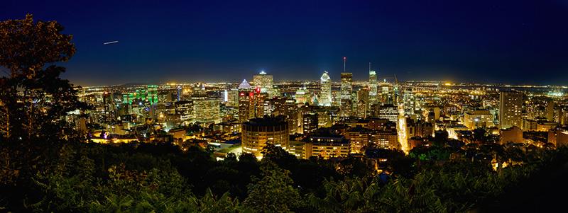 Vista noturna em Montreal