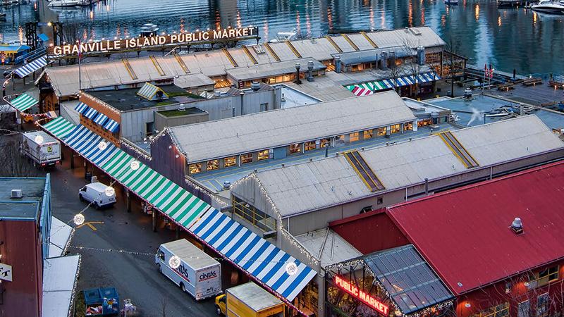 Vista aérea do Mercado de Granville Island em Vancouver